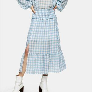 Topshop Blue White Gingham Tiered Midi Skirt